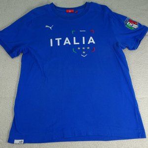 Puma Italia Soccer Futbol Blue Shirt Medium